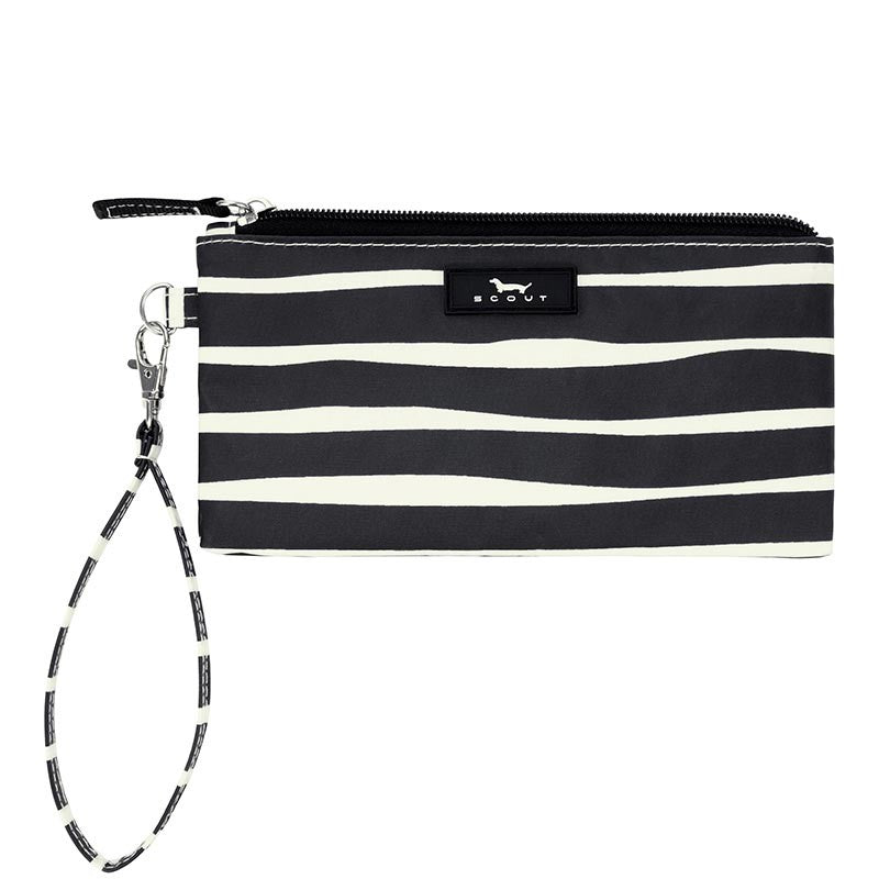 Black and white striped wristlet purse with detachable strap