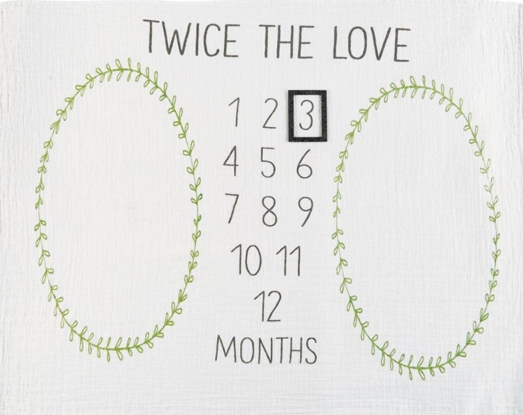 Image of blanket featuring the text 'twice the love' above numbers 1-12 and a moveable photo frame to highlight the current month.  Green ivy ovals on either side of the numerals for each baby to be set in while photographed.