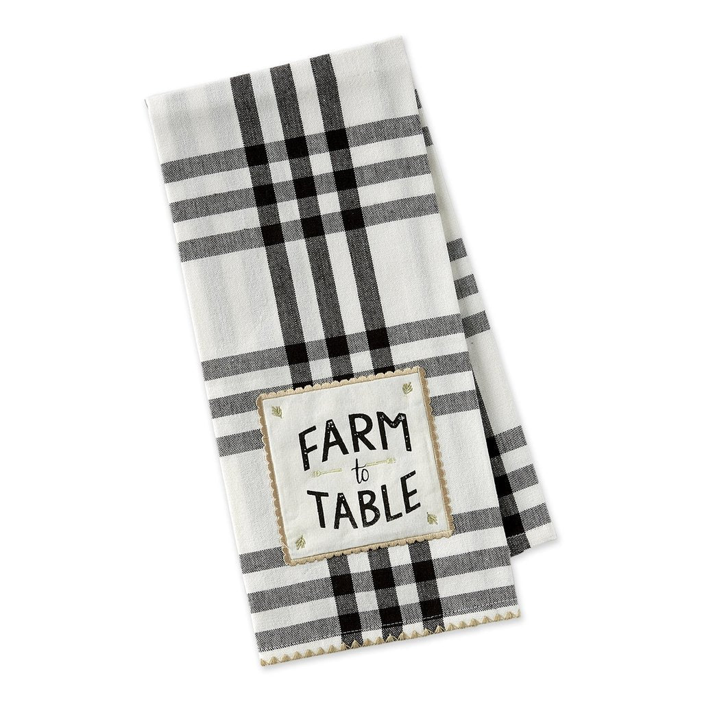 Black and white plaid dishtowel with Farm To Table embellishment
