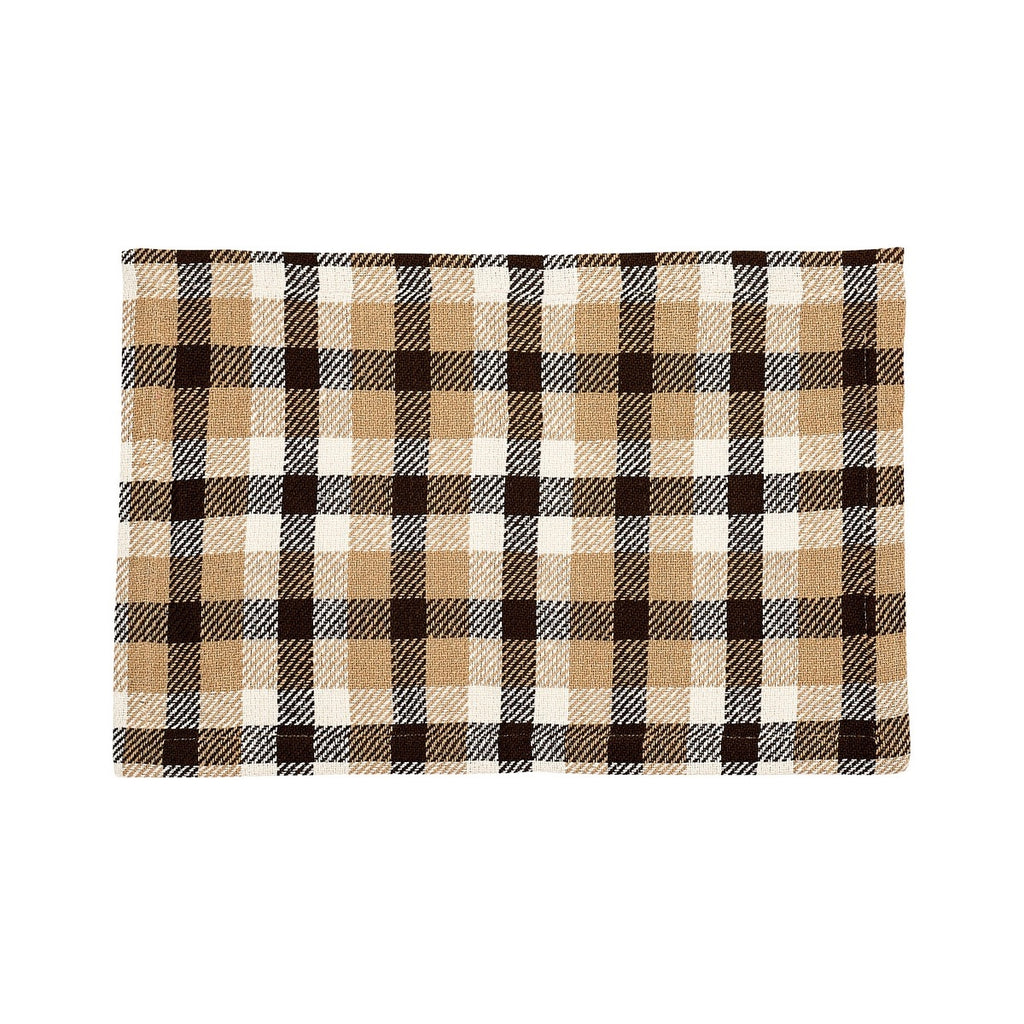 Plaid placemat with white, tan and chocolate brown.
