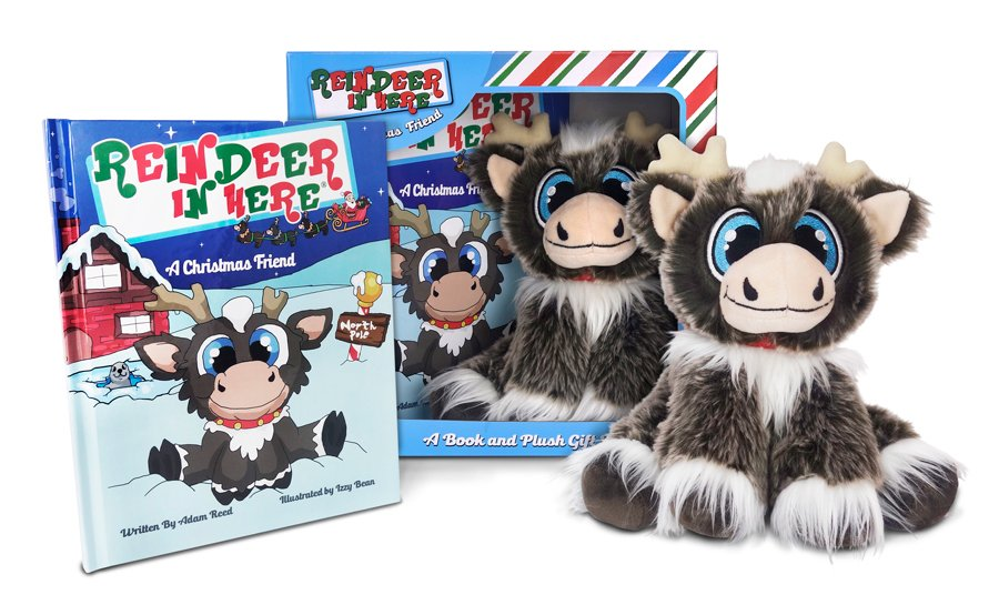 Reindeer in Here book and plush gift set.  The hardcover book and plush are positioned in front of the gift set box.