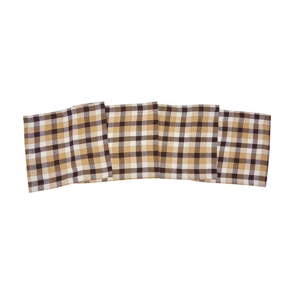 Plaid runner gently folded across the photo.  Plaid is tan, white and chocolate brown.