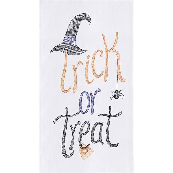 White cotton kitchen towel with Trick or Treat, a witches hat, spider and candy corn embroidered