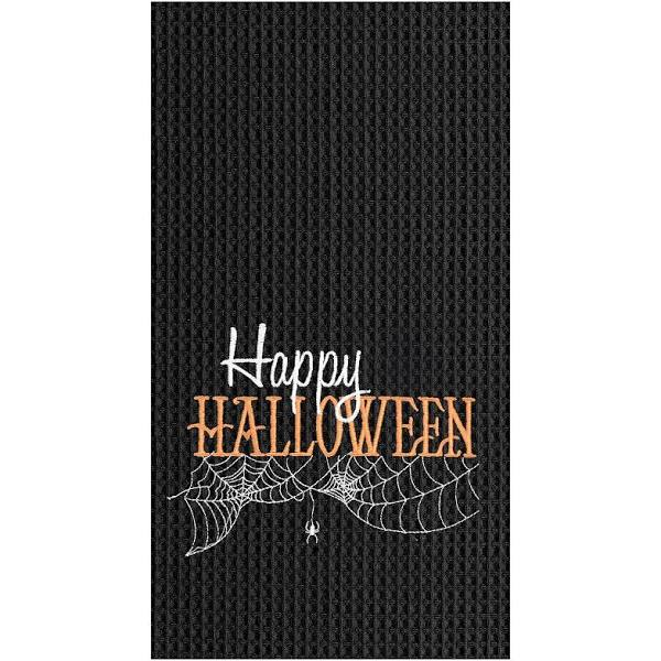 Black waffle kitchen towel with Happy Halloween and spider with web embroidered