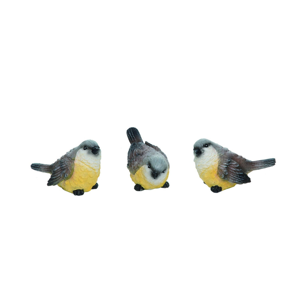 An image of three resin bird figurines of western king birds.  Each has a gray topped head, brown back with brown on tail and wings and yellow lower body.  The first bird is looking straight ahead, the middle is looking down, and the right is looking with its head tilted.