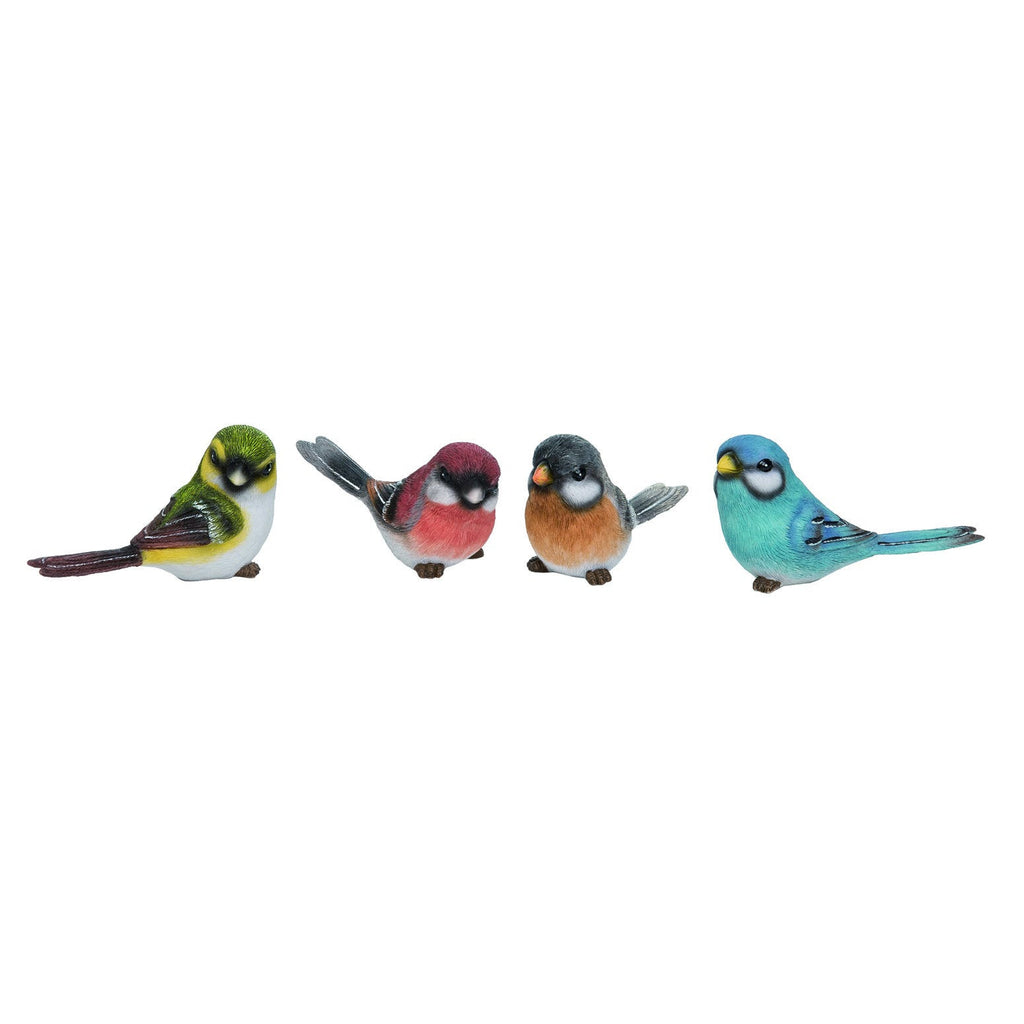 A collection of four resin birds on a white background.  From left is a yellow bird with dark brown wings and tail.  To its right is a red bird with red chest and black tail and wingtips.  To its right is an orange chested bird with a black head and tail.  To its right is an overall blue bird with white markings under its eyes and small dark brown markings on its wing tips and tail.