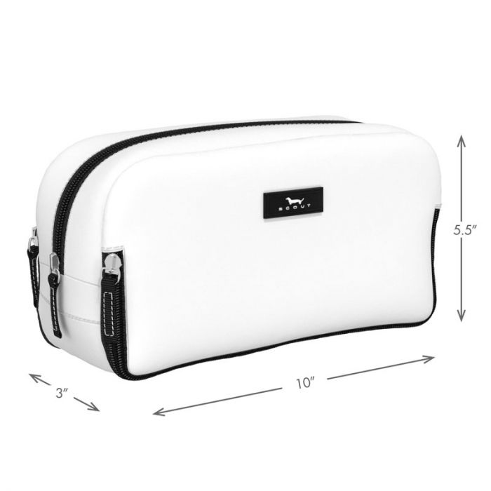 View of toiletry bag detailing dimensions