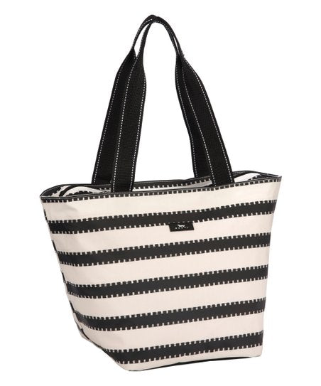 Black and white striped tote bag with black handles
