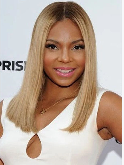 PRE-PLUCKED Lace Front Wig 14 inch long bob (lob), Brazilian Virgin Remy, blonde ombre GG-PRPL-BLONDELOB14