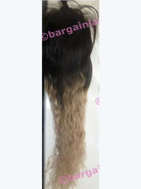 Silk-base Top Closure Burmese Virgin Remy hair 18 inches long ombre, cut but never worn, glueless option P-CUTSKWVCLOS18OMBRE