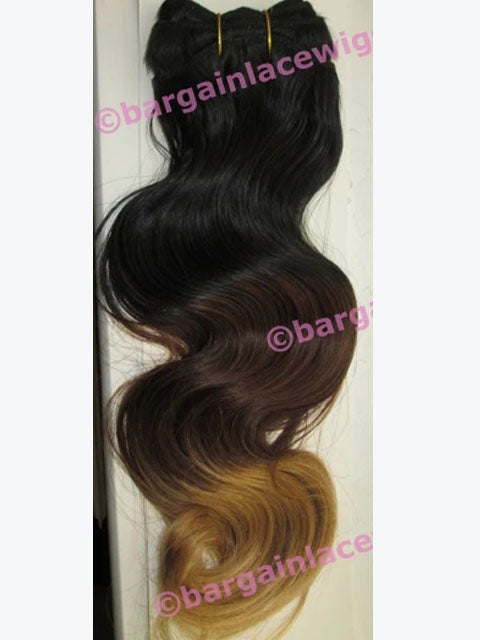 Burmese Virgin Remy Hair Weft (for weaving) 16 inches long, ombre 3 colours, body wave Q-BW16WEFT-OMBRE