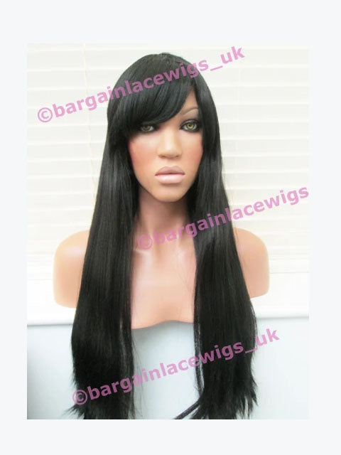 Regular Full Cap Wig AA Relaxed 20 inches colour #1b with fringe (bangs) R-FCAA201B
