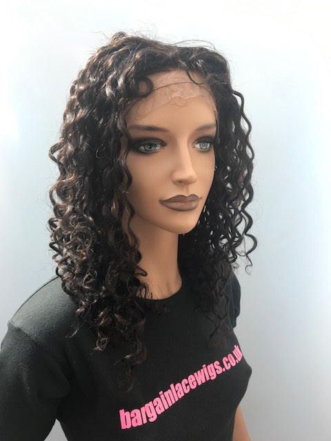 Curly Glueless Lace Wig 16 inches colour #2 with 4x4 silk base E-SKGLCRL16TWO