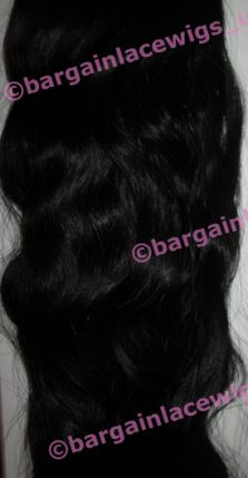 Brazilian Virgin Remy Hair Weft (for weaving) 16 inches colour #1b, long loose natural wave Q-BVWEFT161B