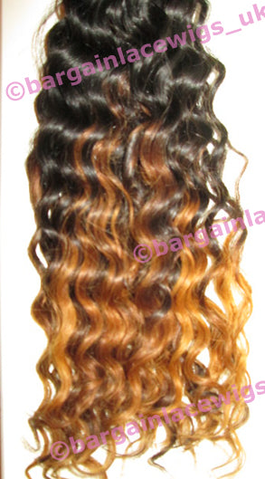 Deep Wave Texture Hair Weft (for weaving) 16 inches long Indian Virgin Remy hair, ombre P-VIDWWEFT-OMBRE