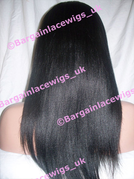 Glueless Lace Wig Light Yaki 16 inches long colour #1b, 4x4 silk base, small cap F-SKGLLY161B-SML