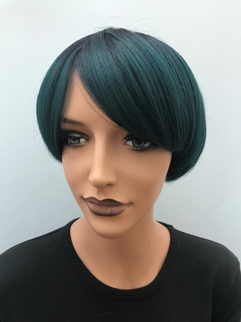 Regular Full Cap Wig Yaki #1b mixed with green Z-GREEN