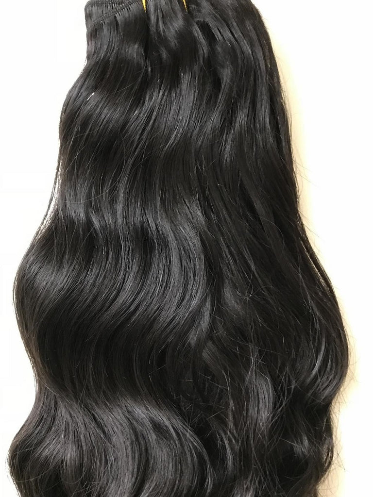 Indian Virgin Remy Hair Weft (for weaving) 12 inches long colour #1b, loose natural wave Q-IVWEFT121B