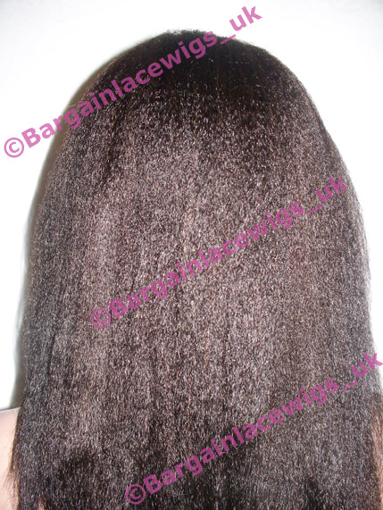Italian Yaki Full Lace Wig 14 inches long colour #1b with 4x4 silk base I-SKIY141B