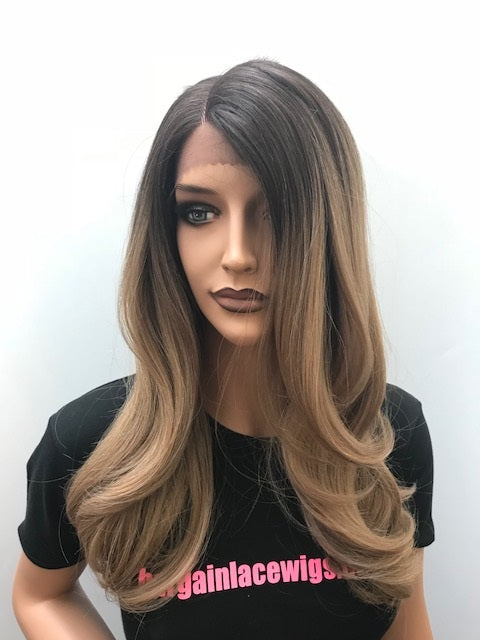 Synthetic Lace Front Wig Ombre Dark Blonde 'Bronde' Layered Long Hair T-JENNIFER