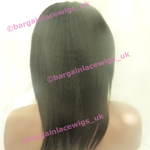 Full Lace Wig Light Italian Yaki 12 inches long colour #1b M-LIY121B