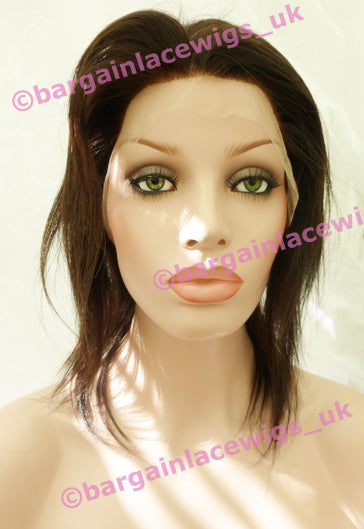 Natural Straight Full Lace Wig 10 inches natural colour #2, 4x4 silk base J-SKNS10TWO