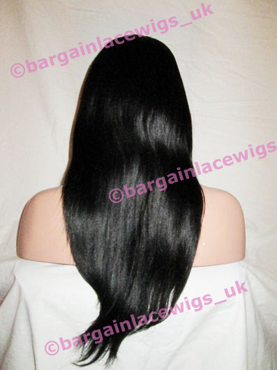 Light Yaki Glueless Lace Wig 18 inches long colour #1b with 4x4 silk base, small cap E-SKGLLY181B-SML
