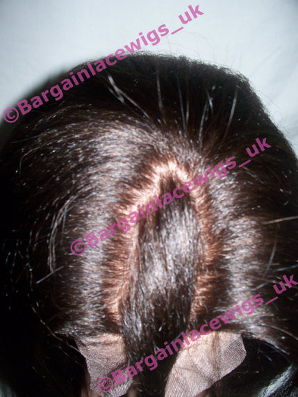 Full Lace Wig Italian Yaki 14 inches long colour #3 with 4x4 silk base I-SKIY14THREE