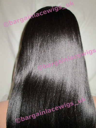 Light Yaki Full Lace Wig 20 inches colour #1b with 4x4 silk base JJ-SKLY201B