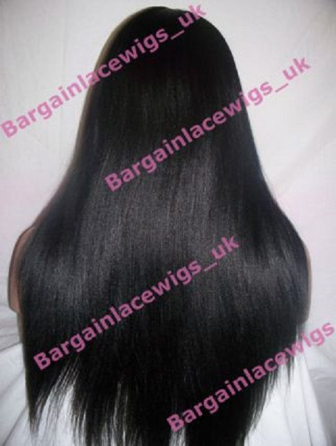 Yaki Full Lace Wig 18 inches long colour #1b with 4x4 silk base I-SKYK181B