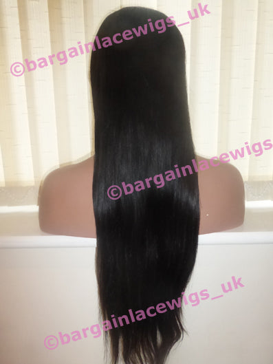 Lace Front Wig Brazilian Virgin Remy 24 inches long with 4x4 silk base HH-SKBVLF24