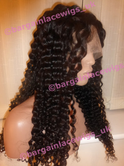 Deep Wave Full Lace Wig 20 inches with 4x4 silk base (hidden knots), Brazilian Virgin Remy hair GG-SKDW20-BV