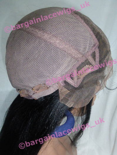Yaki Glueless Lace Wig 20 inches long colour #1 with 4x4 silk base, small cap F-SKGLYK20ONE-SML