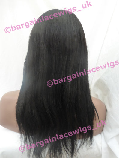 Glueless Lace Wig Light Yaki 14 inches long colour #1b with 4x4 silk base DD-SKGLLY141B