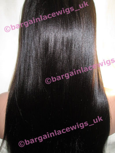 Light Yaki Glueless Lace Wig 22 inches long colour #1b with 4x4 silk base, Chinese Virgin Remy hair E-SKGLLY221B-CVR