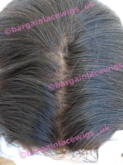 Natural Straight Glueless Lace Wig 12 inches long with 4x4 silk base, Chinese Virgin Remy hair F-SKGLNS12CVR