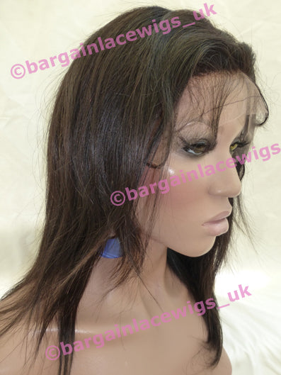 Natural Straight Glueless Lace Wig 10 inches long, 4x4 silk base, Chinese Virgin Remy hair F-SKGLNS10TWO-CVR