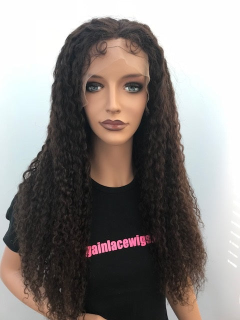 Tight Curly Glueless Lace Wig 20 inches natural colour #2 with 4x4 silk base F-SKGLTC20TWO