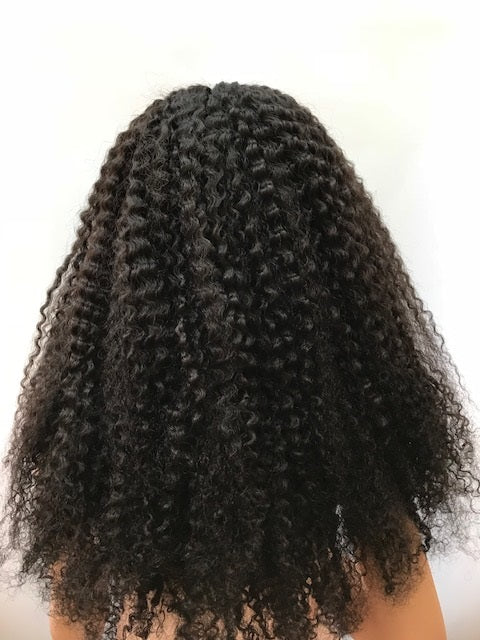 Tight Curly Glueless Lace Wig 22 inches colour #1b with 4x4 silk base F-SKGLTC221B