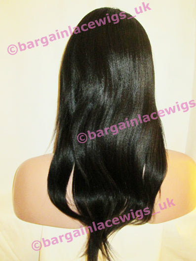 Yaki Glueless Lace Wig 14 inches long colour #1b with 4x4 silk base DD-SKGLYK141B