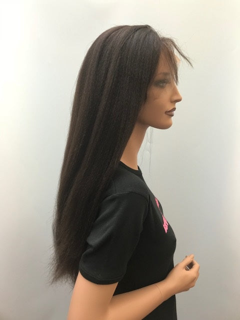 Lace Front Wig Italian Yaki 18 inches long colour #2 with 4x4 silk base (hidden knots) A-SKIYLF18TWO