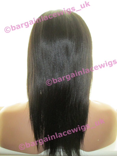 Light Yaki Full Lace Wig 12 inches long colour #1b with 4x4 silk base JJ-SKLY121B