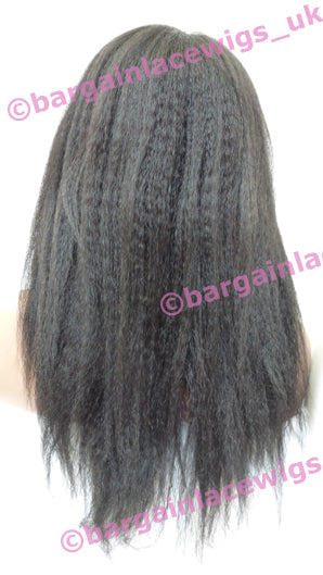 U-Part Wig Italian Yaki 16 inches long colour #1b O-UPTIY161B