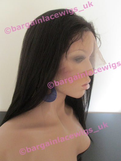 Yaki Texture colour #1b 14 inches long with 4x4 silk base, with option to wear glueless E-SKYK141B-EB