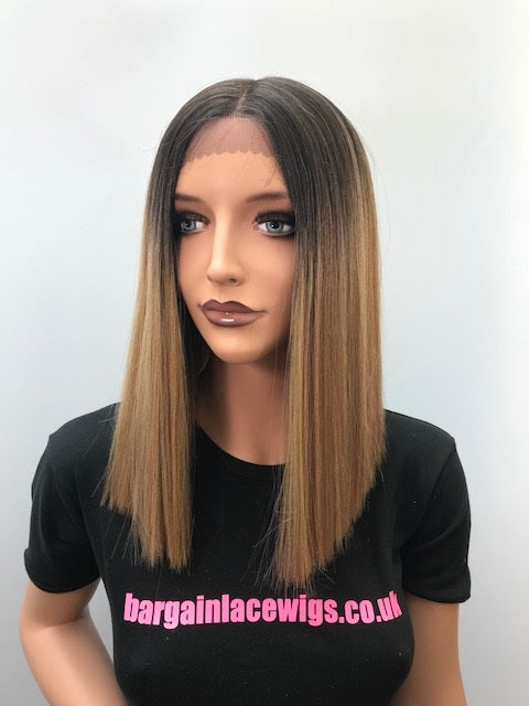 Synthetic Lace Front Wig Straight Ombre Blonde Highlights Blunt Bob R-ZARA