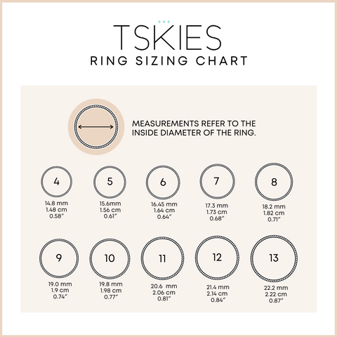 T.Skies Ring Sizing Chart