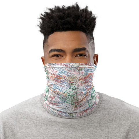 White Passport Stamp Neck Gaiter