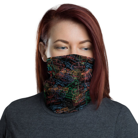 Black Passport Stamp Neck Gaiter