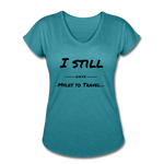Women's Tri-Blend V-Neck T-Shirt - heather turquoise