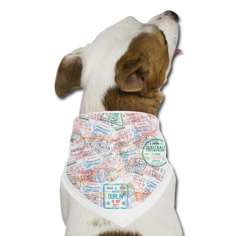 Passport Stamp Dog Bandana - white